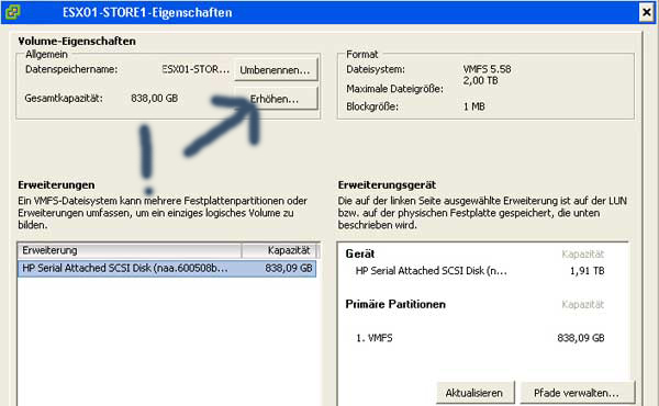 HP Server & ESXi - Raid Erweitern unter VMWARE mit Hilfe von